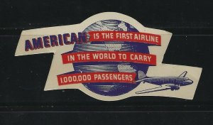 UNITED STATES - AMERICAN AIRLINES 1000000 PASSENGERS POSTER STAMP MNH