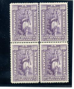 Scott PR125 Newspaper Mint Line Block of 4 Stamps NH w/PF Cert (StockPR125-2)