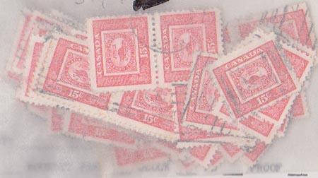 Canada USC#314 Attractive 15c Stamp on Stamp Beaver Stamp x 100 used