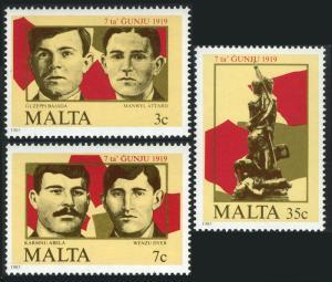 Malta 662-664, MNH. June 7 Uprising, 66th anniv. Martyrs, Memorial Monument,1985