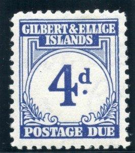 Gilbert & Ellice Is 1940 KGVI Postage Due 4d blue MLH. SG D4. Sc J4.