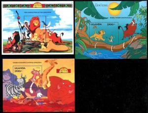 Uganda 1269-1271, MNH, Disney characters 1994. x7802