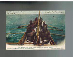 1906 England Postcard Cover Boat Crew on Lake Tanganyika