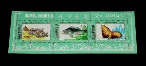 KOREA, 1979, SEA ANIMALS, CTO, SOUVENIR SHEET, NICE! LQQK!