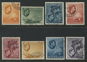 Seychelles KGVI 1941-49 various values to 50 cents on chalky paper used
