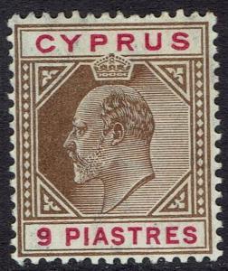 CYPRUS 1904 KEVII 9PI WMK MULTI CROWN CA