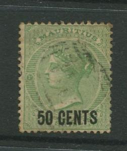 STAMP STATION PERTH: Mauritius #57 FU 1878  Single 50c on a 1/- Stamp