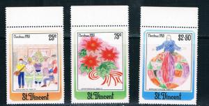 St.Vincent SC903-905 Christmas 1985-Children's Drawings MNH