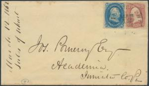 #63b & #65 ON COVER 1¢ USED AS CARRIER DARK BLUE CV $1,007.50 BR6554