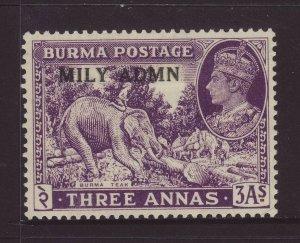 1945 Burma 3 Annas Optd Mily Admn Mounted Mint SG43