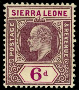 SIERRA LEONE SG107, 6d dull & brt purple, M MINT. Cat £20.