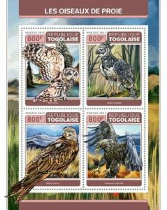 Togo - 2017 Birds of Prey - 4 Stamp Sheet - TG17314a
