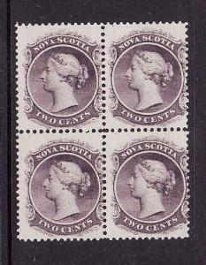 Nova Scotia #9-unused 3 stamps NH-2c lilac QV block of 4-