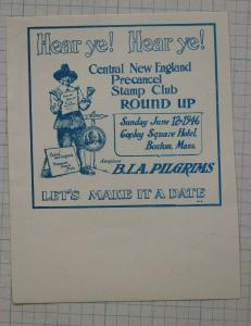 New England Precancel Club Round-up poster Stamp ad BIA Pilgrims Boston 1946 DM