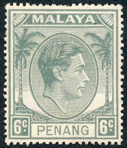Malaya Penang 1949 6c Grey SG8 MH