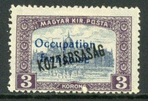 Hungary 1919 French Occupation 3K Koztarsasg Sc #1N37 Mint M55 ⭐⭐