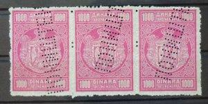 Yugoslavia c1934 Serbia Rare Strip Of 3 x 1000 Dinara  C1