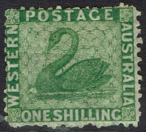 WESTERN AUSTRALIA 1864 SWAN 1/- WMK CROWN CC PERF 12.5