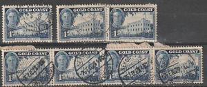 #131 Gold Coast used strip of 4, pair & single