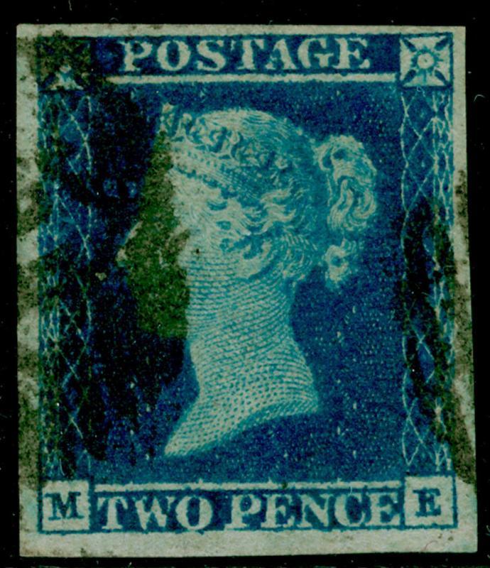 SG14, 2d blue PLATE 4, FINE USED. Cat £90. 4 MARGINS. ME