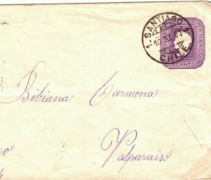 CHILE Postal Stationery 5c Envelope Santiago Valparaíso 1892{samwells-covers}SV7