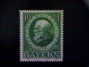 Stamp, Bavaria (Germany), Scott #123, used (o), 1914, King Ludwig III, 10mks