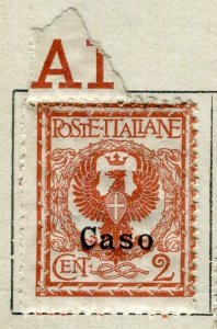 ITALY; Dodecanese Caso 1916 Emmanuel Optd. Mint hinged 2c. value