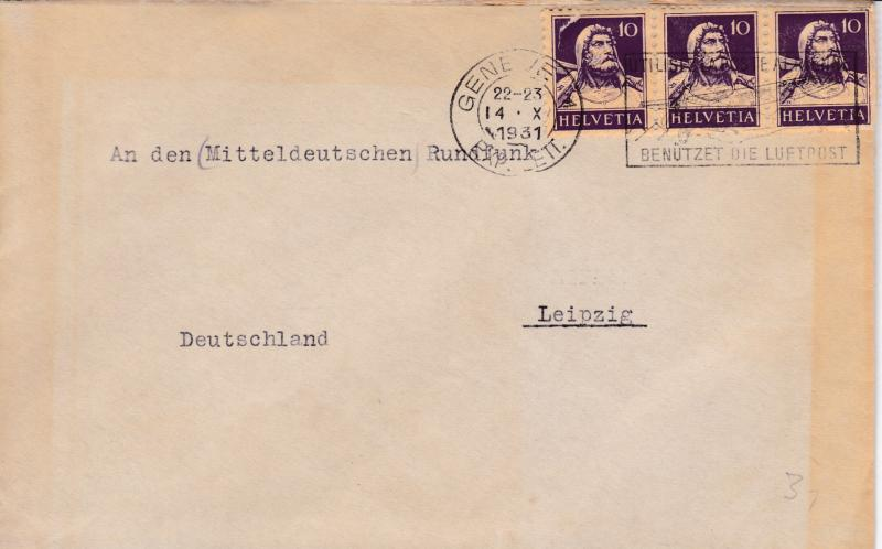 Switzerland 1931 10c Tell strip of 3 Geneva CDS & slogan to Leipzig