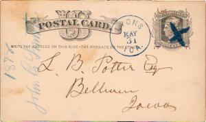 United States Iowa Lyons 1878 crude blue X killer  1839-1913  Postal Card.