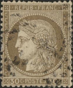 FRANCE - Yv.56 30c brun obl.