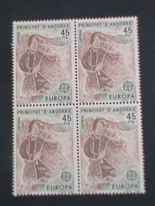ANDORRA-SPAIN-1982 SC#185-EUROPA-EARLY 20TH CENT.TRADERS-MNH BLOCK OF 4-F