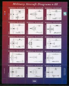 MARSHALL ISLANDS 2014 MILITARY AIRCRAFT DIAGRAMS SHEET(15) MINT NH