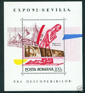 Romania Scott 3768 MNH** Sevilla Expo 1992 sheet