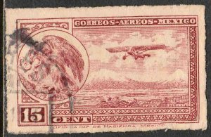 MEXICO C22, 15¢ Early Air Mail Plane and coat of arms USED. F-VF. (1050)