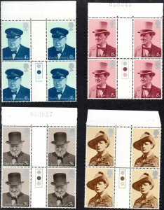 1974 Sg 962/965 Churchill Circulation Lumière Marge Et Gutter Paires Set 4 Umm