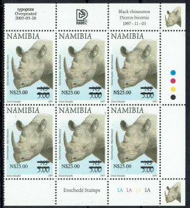 NAMIBIA 2005 RHINOCEROS N$25 ON $5 MNH ** CONTROL BLOCK