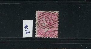 GREAT BRITAIN SCOTT #26 1857 4P CARMINE ROSE- WMK 23 (LARGE GARTER)  -USED