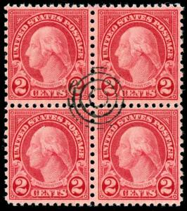 momen: US Stamps #579 Used Block of 4 SCARCE XF PF Cert