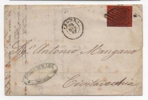 ITALIAN ROMAN STATES Scott #15 IMPERF on Cover 1867 F/L