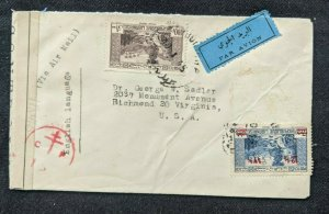 1945 Beirut Lebanon Censorship Airmail Cover to Richmond Virginia USA