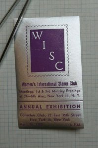 Womens Intl Stamp Club NY 1952 Annual Expo Souvenir Label