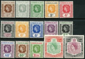 LEEWARD IS. Sc#133-147 1954 QEII Defins Complete Mint OG LH