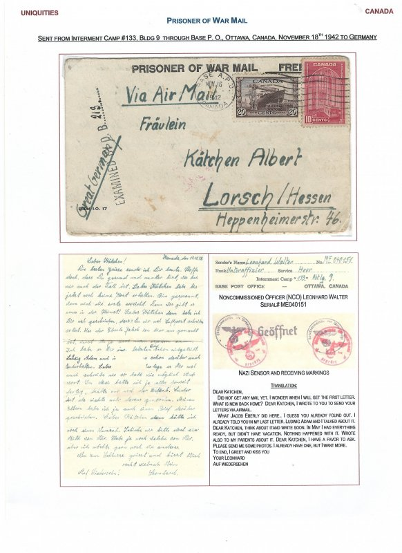 Canada German Prisoner of War (WWII) Cover with Traanslation!