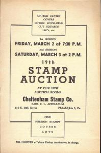Apfelbaum: Sale # 19  -  19th Stamp Auction: United State...