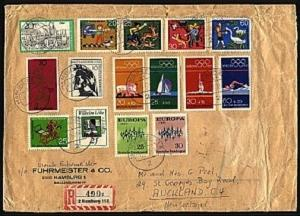 GERMANY 1973 Registered cover to New Zealand - great franking..............96591