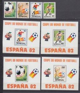 Z4101, 1982 senegal mnh set + s/s #583-90 sports