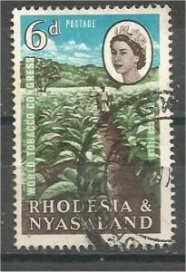 RHODESIA AND NYASALAND, 1963, used 6d, Tobacco field, Scott 185