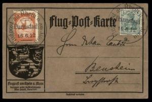 Germany 1912 Zeppelin Schwaben Si10.1.16 Darmstadt Airmail Cover Flugpost 89368