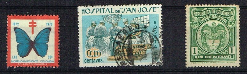 Colombia Cinderella & Revenue Stamp Trio