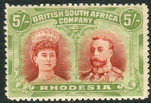RHODESIA-1910-13 5/- Crimson & Yellow Green lightly mounted mint example Sg 160a